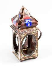 Limoges, small Lantern, copper painted enamel, 18./19. Century