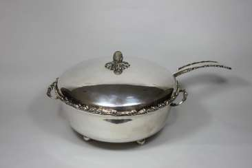 Punch bowl with ladle, Sterling silver hallmarked Brazil 925