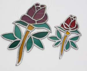 2 Lead Glass Roses
