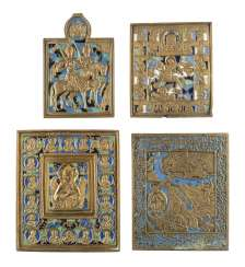 COLLECTION OF FOUR BRONZE ICONS WITH SELECTED SAINTS Russia