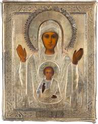 ICON OF THE MOTHER OF GOD OF THE SIGN WITH VERMEIL-OKLAD