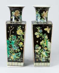 Pair of Familie Noir vases