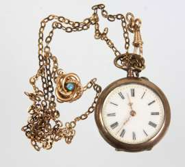 Ladies pocket watch with chain & slide