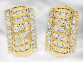 Earrings: unusual and attractive vintage hoop earrings with diamonds, approx. 2ct, 18K yellow gold