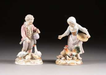 PAIR OF CHILDREN FIGURES WITH GEESE AND CHICKENS