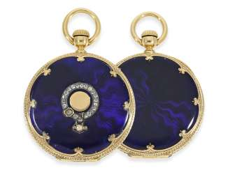 Pocket watch: rare, early Gold/enamel-Savonnette with diamonds, Patek Philippe delivered to Tiffany in New York, Geneva, CA. 1860