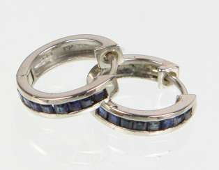 Hoop earrings with sapphire and white gold 333