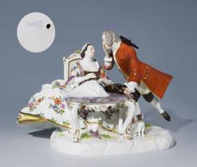 A Mason group with a pug, MEISSEN 1880-1923