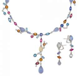 COLOR STONE SET: NECKLACE AND EARRINGS