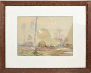 UNKNOWN ARTIST, the HAYSTACK IN the RAIN, watercolor on paper, behind glass, framed, signed