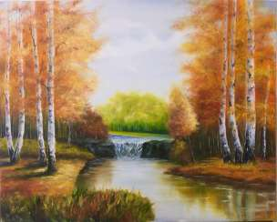 Autumn waterfall in a birch grove
