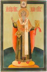 A MONUMENTAL ICON OF THE ST. BASIL THE GREAT