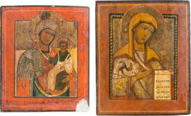 TWO ICONS WITH MERCY PICTURES OF THE MOTHER OF GOD: MOTHER OF GOD OF SMOLENSK MOTHER OF GOD FROM A DEESIS