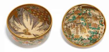 Two bowls with Wisteria decoration and figural scenes
