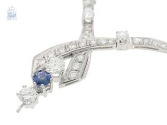 Chain/necklace: precious, white gold vintage sapphire/brilliant-middle part, necklace, handmade, 18K white gold