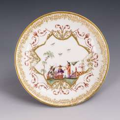 Baroque saucer with chinoiserie painting