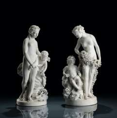 Pair of bisque porcelain allegorical groups