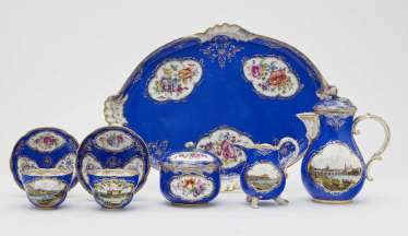 Tête à tête with Saxon views, eight parts. Meissen, 2. Half of the 19th century. Century