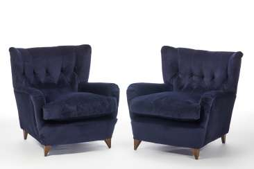 Pair of upholstered bergère with wooden structure and blue velvet covering