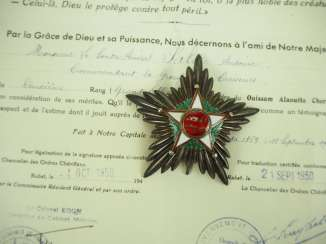 Morocco: Quissam-Alaouite Of The Order Of 2. Model (1934-1954), Grand officer's star, with document for a French rear-Admiral.