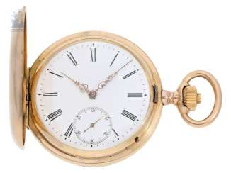 Pocket watch: heavy red-gold Savonnette, IWC Schaffhausen No. 107181, CA. 1894, with the master excerpt from the book