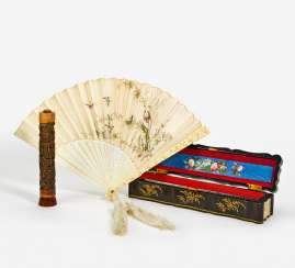 Embroidered fan with fine bone carving