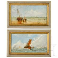 A pair of small-format paintings with maritime motifs, German / Netherlands, 19th century