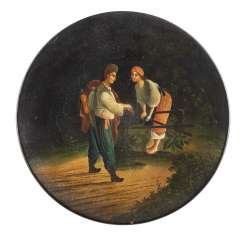 LACQUER DISH WITH A YOUNG COUPLE