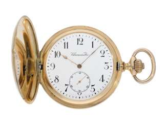 Pocket watch: particularly heavy Swiss gold savonnette with chronometer escapement, approx. 1900