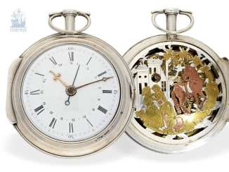 Pocket watch: great, unique Spindeluhr with date and hidden figures, the scene, probably Geneva in 1780