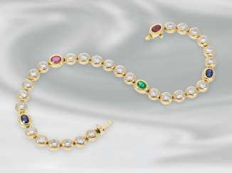 Bracelet: high-quality, extremely attractive tennis bracelet with diamonds and sapphire, ruby and emerald trim, approx. 3,22 ct, 18K yellow gold, brand jewelry Zappe, NP 6900€