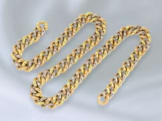 Chain/necklace: top quality and extremely heavy Tricolor round curb chain 18K Gold, mint