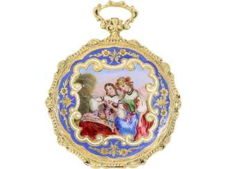 Pocket watch/Anhängeuhr: exquisite, early, early, early Patek Philippe/Gold / enamel watch, No. 19782, Geneva, CA. 1860