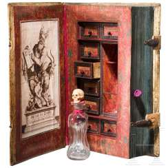 Poison cabinet in book form, historicism, in the style of the 17th century.