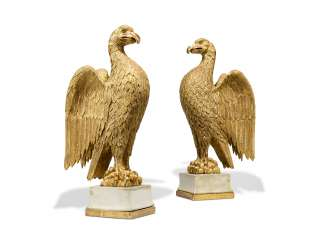 A PAIR OF GILTWOOD EAGLES
