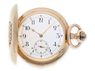 Pocket watch: extremely heavy red-gold precision pocket watch very rare quality, a minute repeater, Louis Brandt & Frère (later Omega), No. 305414, CA. 1897-1899