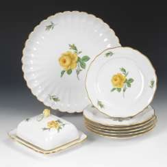 6 plates, fan plate and butter dish