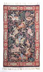 Kashmiri embroidery with equestrian hunting scene North India
