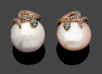 Pair of extravagant pearl earrings with diamonds