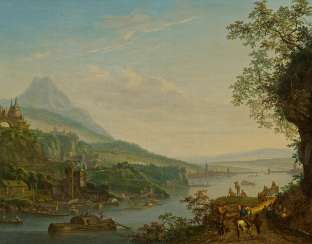 Ideal River Landscape with View of Frankfurt