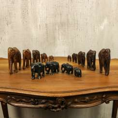 Antique collection of elephants of three types