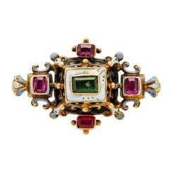 Historicism brooch with rubies and emerald,