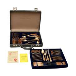 SBS food Cutlery f. Solingen gold plated 12 persons in suitcase, hard, 20. Century.