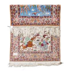 Oriental carpet with silk. GHOM / PERSIA, 20th century, 163x104 cm.