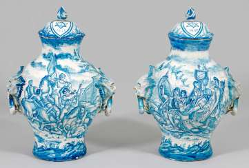 Pair of large majolica lid vases