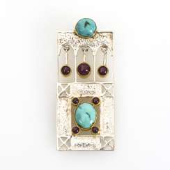Designer pendant with turquoise and rubies