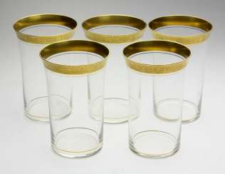 Set Of Goblet Glasses Gold Rim