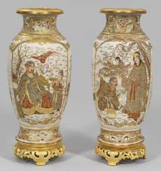 Pair of Satsuma vases with gilded mount
