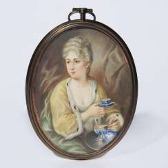 Portrait miniature: lady with teacup