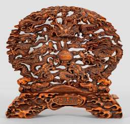 Rose wood carving with dragon decoration